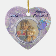 Hanukkah Photo Greetings Ceramic Ornament at Zazzle
