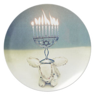 Hanukkah Photo Holiday Greeting Card Melamine Plate