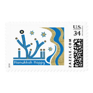 "Hanukkah Postage Stamp ""Blue Bling Menorah"""