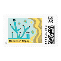 "Hanukkah Postage Stamp ""Light the Menorah"""