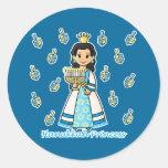 Hanukkah Princess Round Stickers