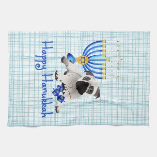 Hanukkah Pug with Menorah and Dreidels Hand Towel