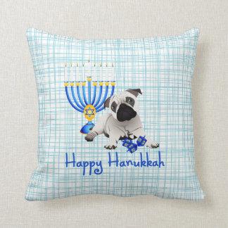 Hanukkah Pug with Menorah and Dreidels Throw Pillow