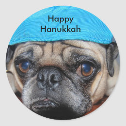 Hanukkah pug with yarmulke classic round sticker