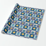 "Hanukkah Quilt Wrapping Paper<br><div class=""desc"">A Menorah,  Star of David,  Dreidel and Gift make your presents pop with this charming wrapping paper. Coordinate your home with the entire Hanukkah Quilt Collection!</div>"