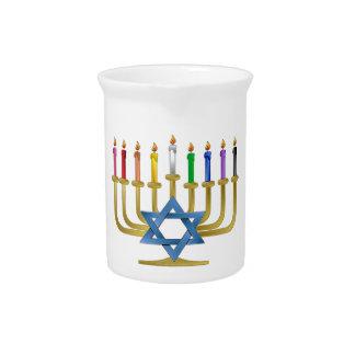 Hanukkah Rainbow Candles Gold Menorah Beverage Pitcher