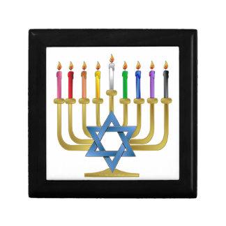 Hanukkah Rainbow Candles Gold Menorah Trinket Boxes