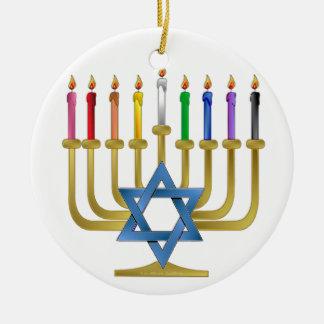 Hanukkah Rainbow Candles Gold Menorah Ornament