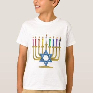 Hanukkah Rainbow Candles Gold Menorah T-Shir