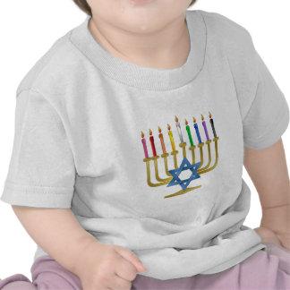Hanukkah Rainbow Candles Gold Menorah Tshirt