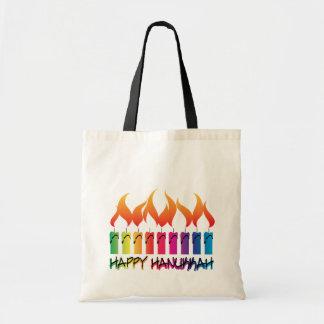 Hanukkah Rainbow Menorah Canvas Bags