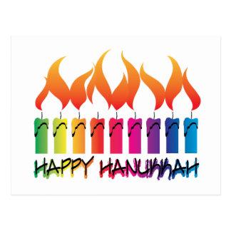 Hanukkah Rainbow Menorah Postcard