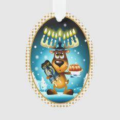 Hanukkah Reindeer Celebrates Chrismukkah Ornament at Zazzle