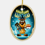 Hanukkah Reindeer Double-Sided Oval Ceramic Christmas Ornament
