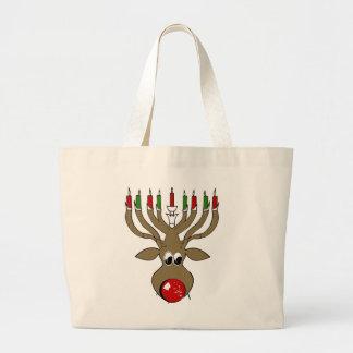 Hanukkah Reindeer -.png Large Tote Bag