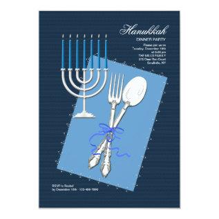 Hanukkah Silverware Dinner Party Invitation at Zazzle