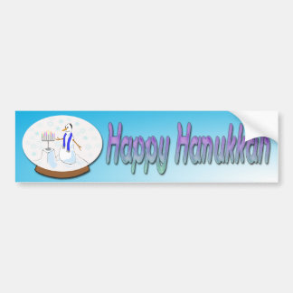 Hanukkah - Snow Globe Snowman Bumper Sticker Car Bumper Sticker
