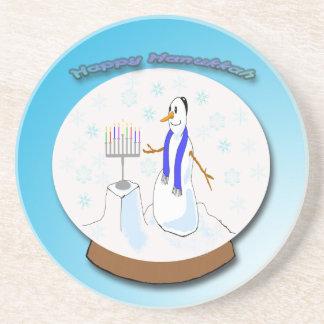 Hanukkah - Snow Globe Snowman Coaster