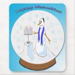 Hanukkah - Snow Globe Snowman Mousepad