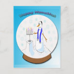 """Hanukkah - Snow Globe Snowman Postcard<br><div class=""""desc"""">Keep in touch with this Hanukkah - Snow Globe Snowman custom postcard. Features a snow globe with a snowman wearing a Kippah (yarmulke) in front of a menorah. Colorful text reads Happy Hanukkah. Stand out from the Crowd with Mind Design Grafx™ Hanukkah postcards. Be sure to check out the """"Customizable""""...</div>"""