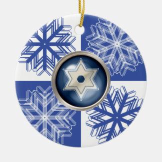 Hanukkah Snowflake Star of David Holiday Ornament
