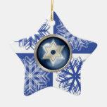 Hanukkah Snowflake Star of David Holiday Double-Sided Star Ceramic Christmas Ornament