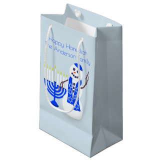 Hanukkah Snowman Add Your Name Eight Nights Fun Small Gift Bag