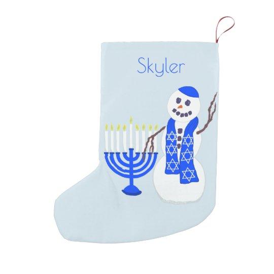 Hanukkah Christmas Stocking.Hanukkah Snowman Chrismukkah For Kids Add A Name Small Christmas Stocking