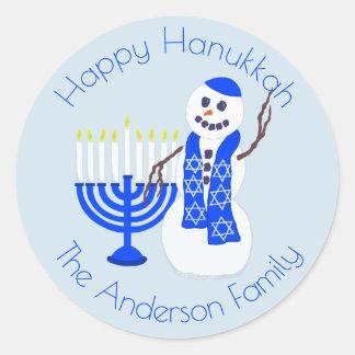 Hanukkah Snowman Happy Hanukkah Blue And White Classic Round Sticker