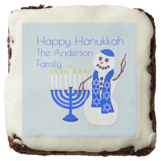 Hanukkah Snowman Optional Add Your Name Party Chocolate Brownie