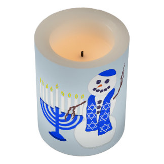 Hanukkah Snowman Optional Name And Message Fun Flameless Candle