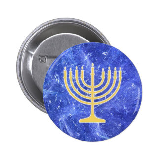 Hanukkah Snowstorm Menorah 2 Inch Round Button