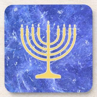 Hanukkah Snowstorm Menorah Drink Coaster