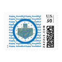 "Hanukkah Stamp ""Dreidel Gold & Blue"""