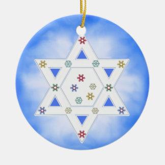 Hanukkah Star and Snowflakes Blue Ceramic Ornament