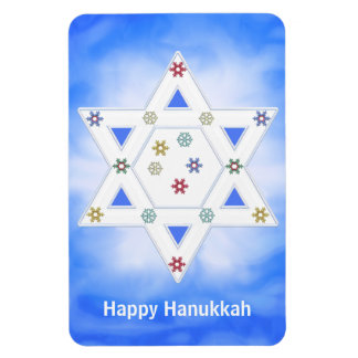 Hanukkah Star and Snowflakes Blue Magnet