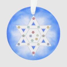 Hanukkah Star And Snowflakes Blue Ornament at Zazzle