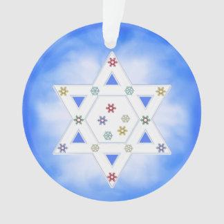 Hanukkah Star and Snowflakes Blue Ornament