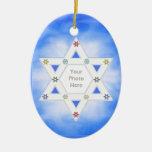 Hanukkah Star and Snowflakes Blue (photo frame) Ceramic Ornament