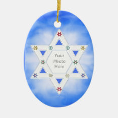 Hanukkah Star And Snowflakes Blue (photo Frame) Ceramic Ornament at Zazzle