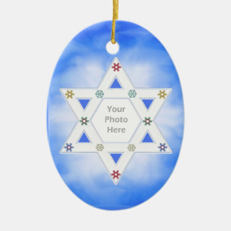 Hanukkah Star and Snowflakes Blue (photo frame) Ceramic Ornament