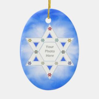 Hanukkah Star and Snowflakes Blue (photo frame) Double-Sided Oval Ceramic Christmas Ornament