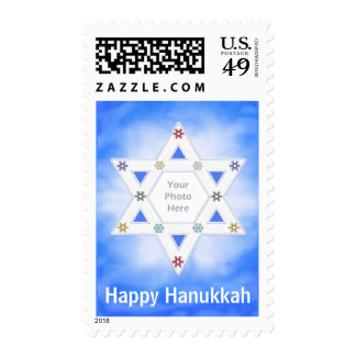 Hanukkah Star and Snowflakes Blue Photo Frame Stamp