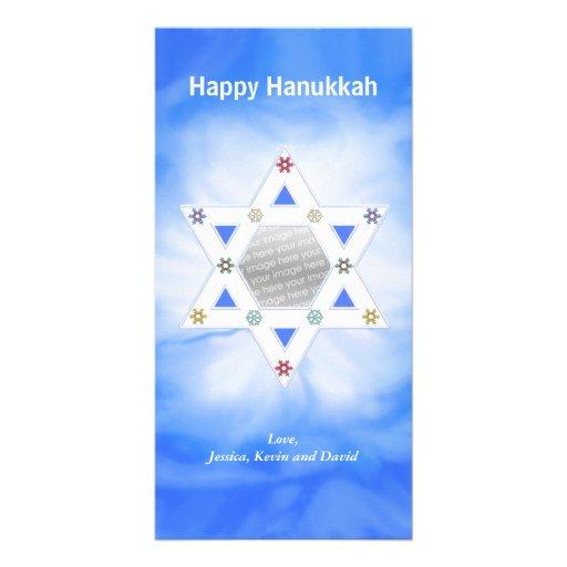 Hanukkah Star and Snowflakes Blue Photo Cards