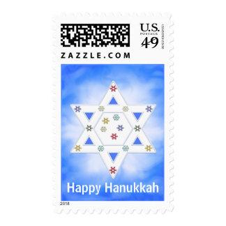 Hanukkah Star and Snowflakes Blue Postage