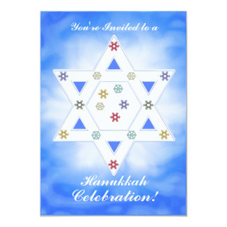Hanukkah Star and Snowflakes Celebration Blue Card