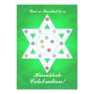 Hanukkah Star and Snowflakes Celebration Green Card