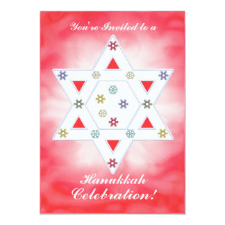Hanukkah Star and Snowflakes Celebration Red Card