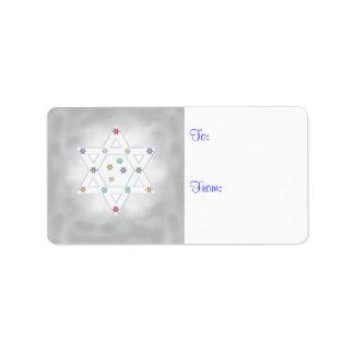 Hanukkah Star and Snowflakes Gray Label
