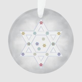 Hanukkah Star and Snowflakes Gray Ornament